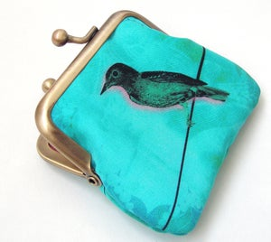 Image of Bird on a wire coin purse, silk pouch