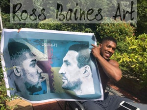 Image of 'WAR' Anthony Joshua SIGNED 3x2ft canvas print