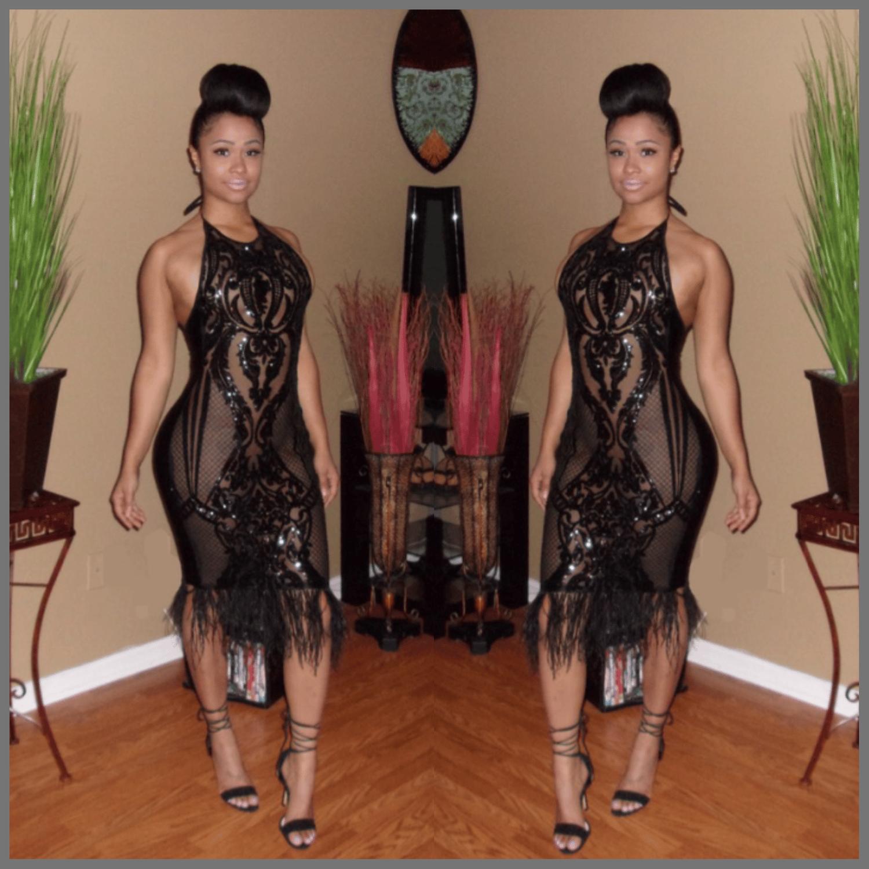"Image of ""Black Sapphire"" Halter Top Dress"