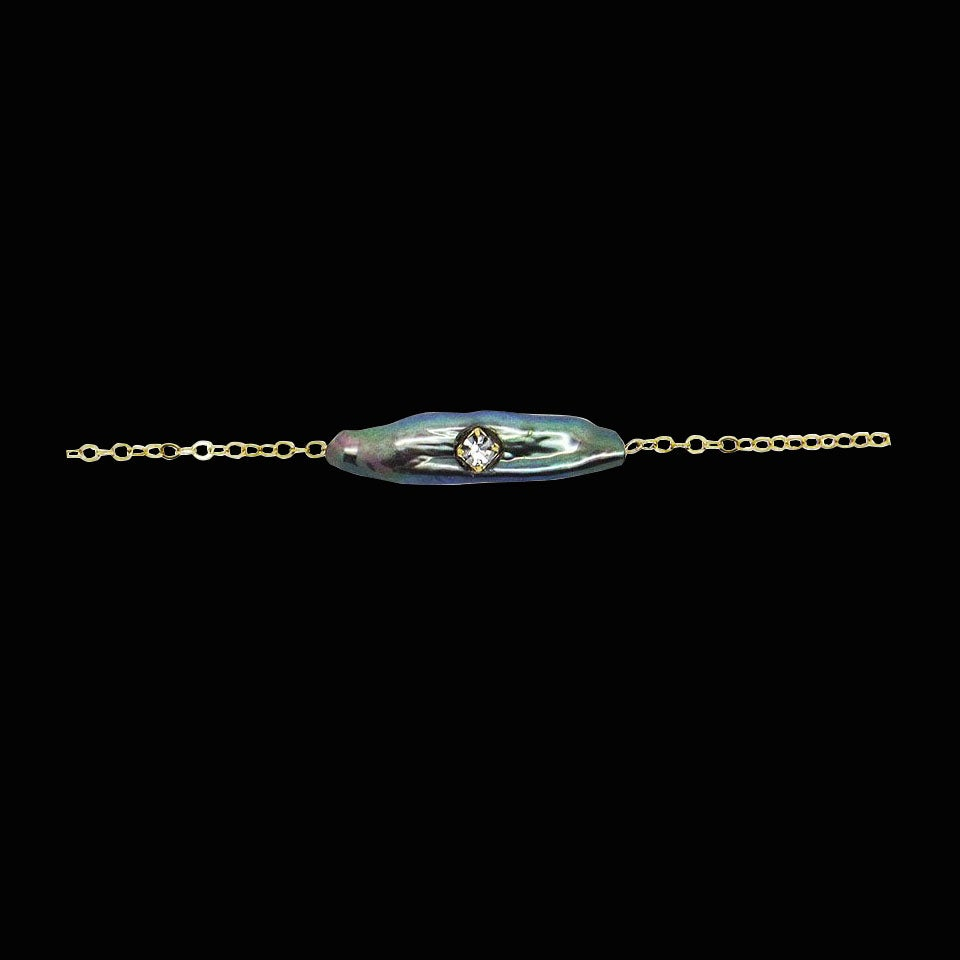 Image of Black Mother of Pearl Bar Necklace