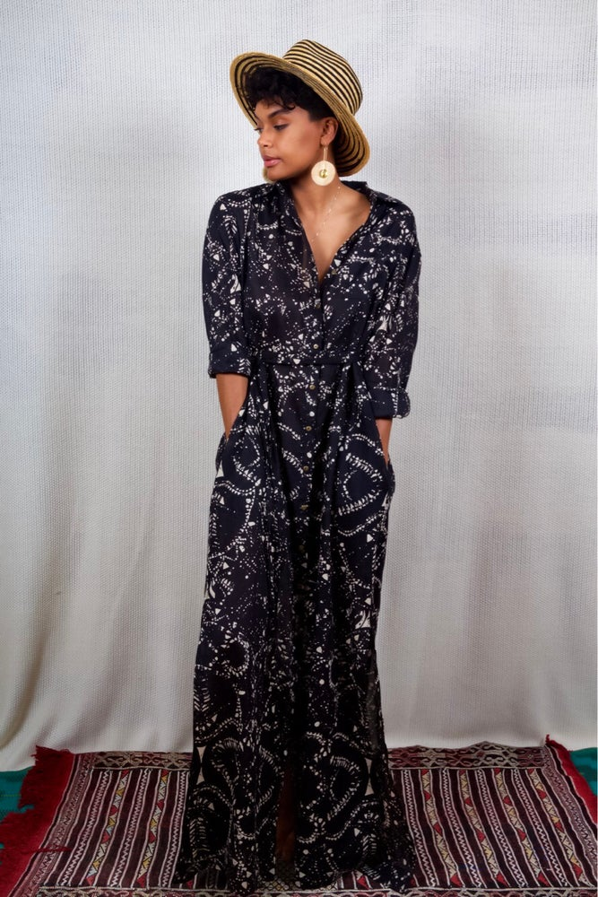 Image of Osu Button-Down Maxi: Earth Multi - Ebony