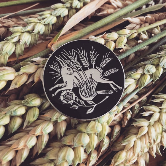 Image of Hare in the wheat enamel pin