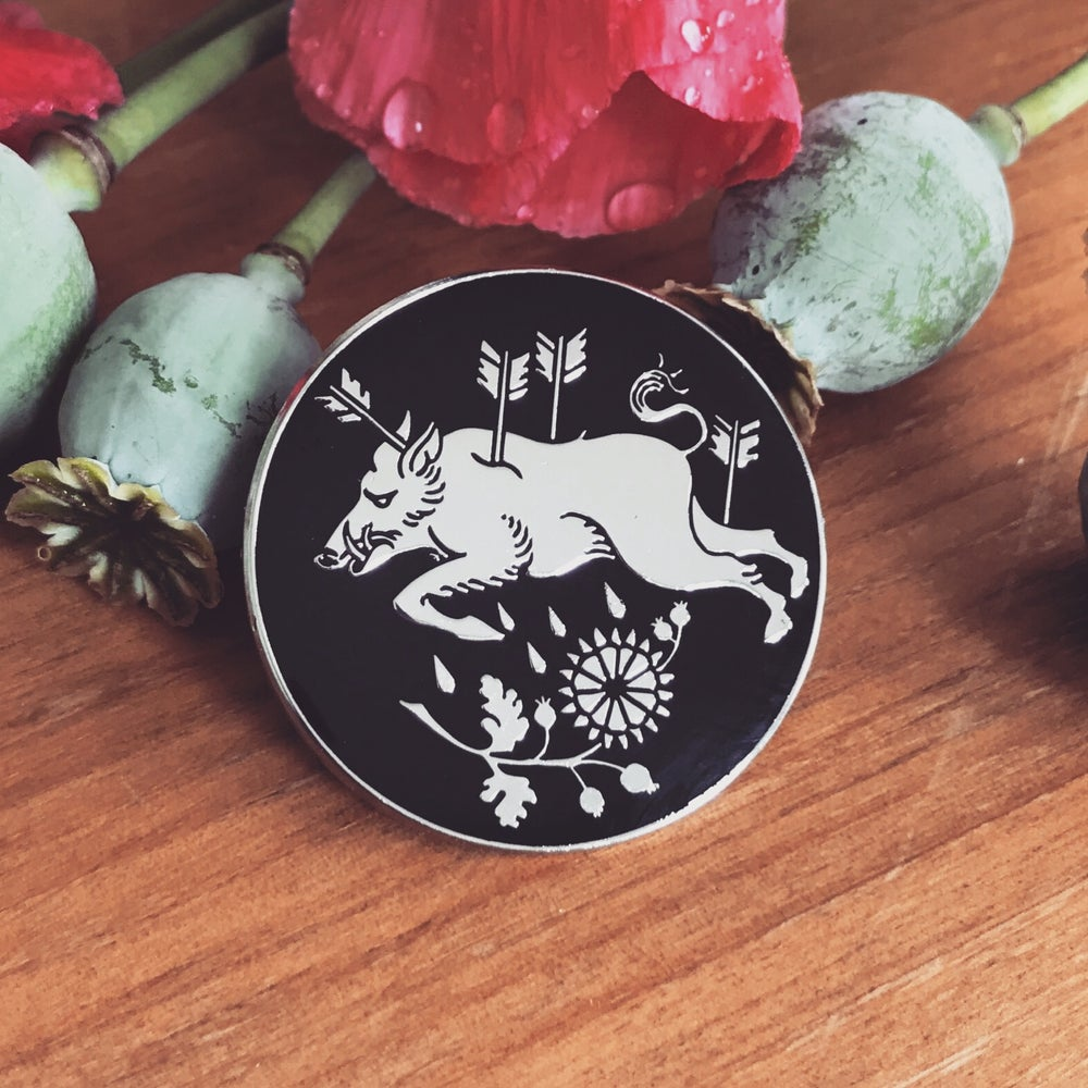Image of Blood of the White Boar enamel pin