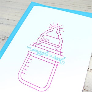 Image of the snuggle is real letterpress card