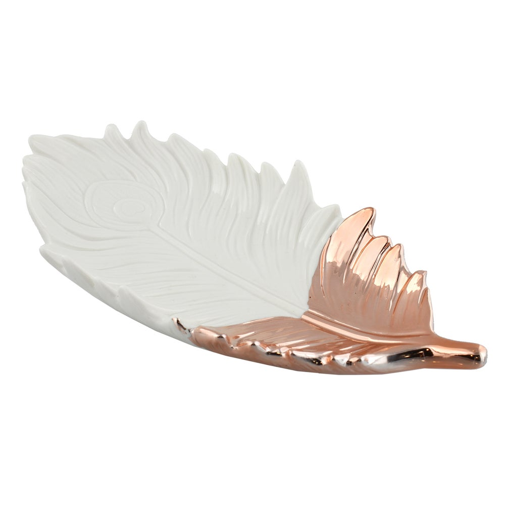 Image of Large White Ceramic and Copper Feather Trinket Dish