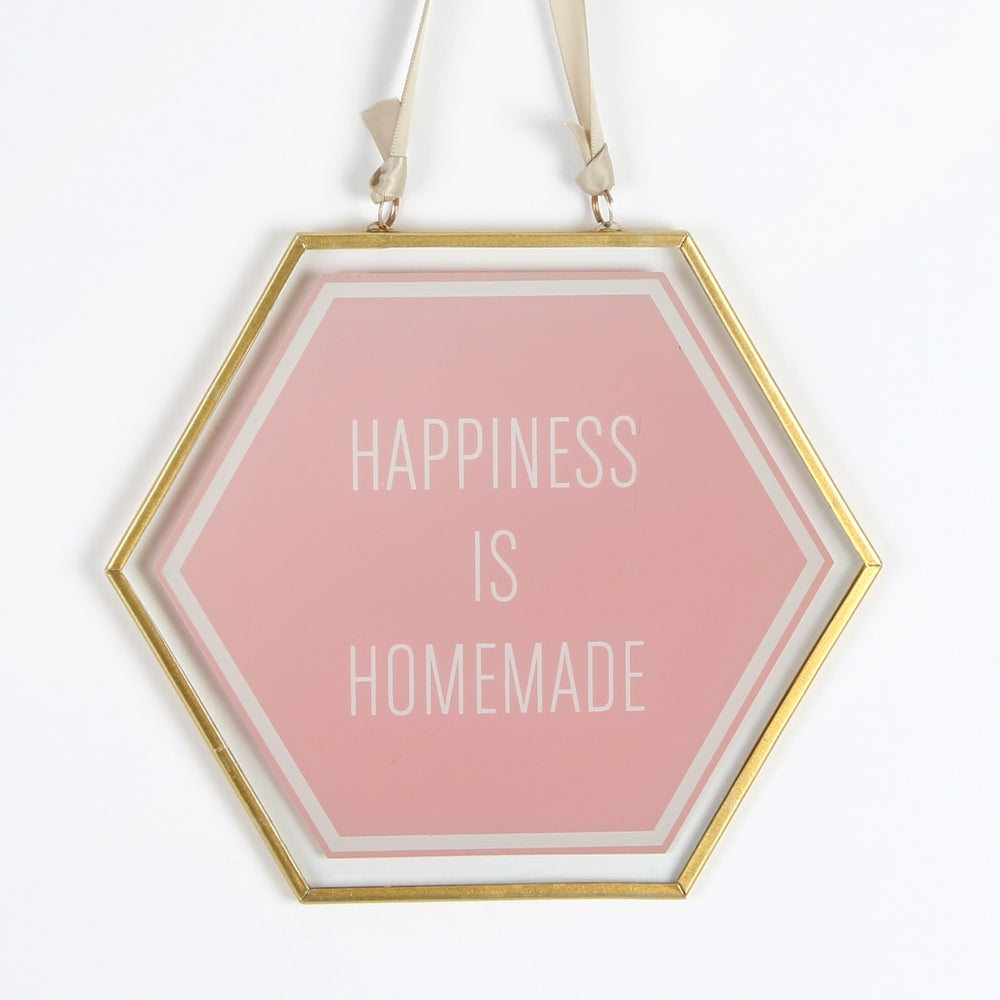 Image of Happiness is Homemade Glass Plaque with Gold Frame