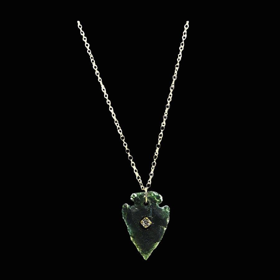 Image of Moss Agate Arrowhead Necklace