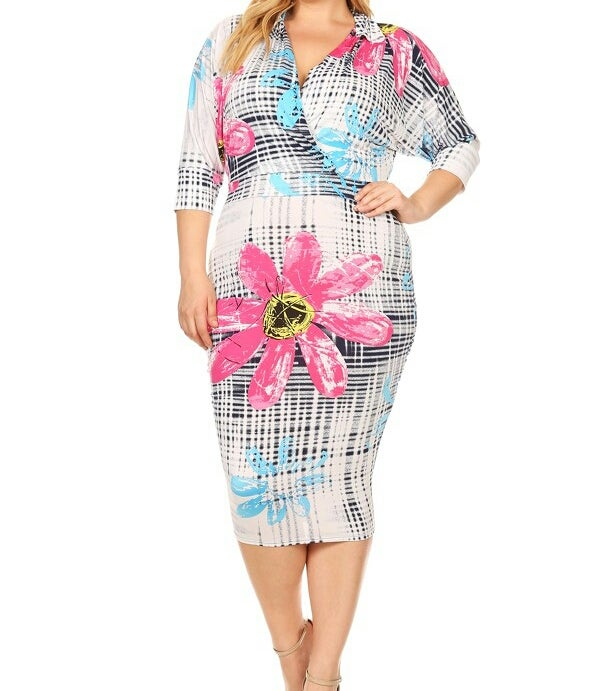 Image of Floral crosshatch pattern printed body con dress