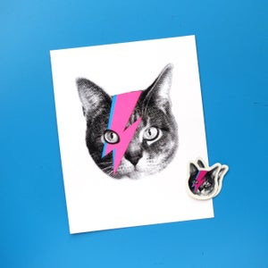Image of gee whiskes series: bowie cat 8x10 screenprinted art print