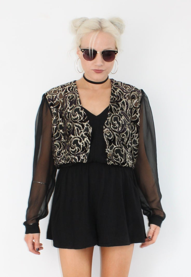 Image of Cropped Ornate Vintage Blouse
