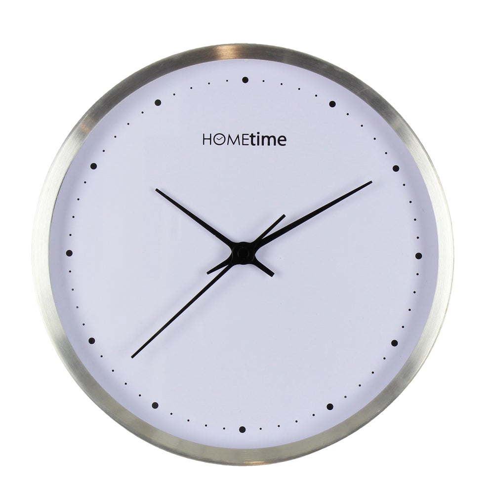 Image of Metal Bushed Silver Clock with White Face 25cm