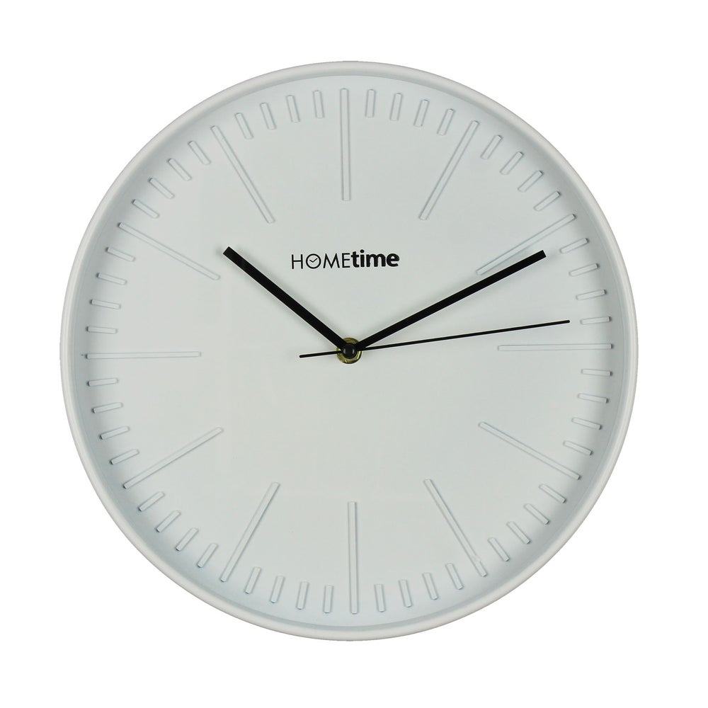Image of White Contemporary Wall Clock with White Face 30cm