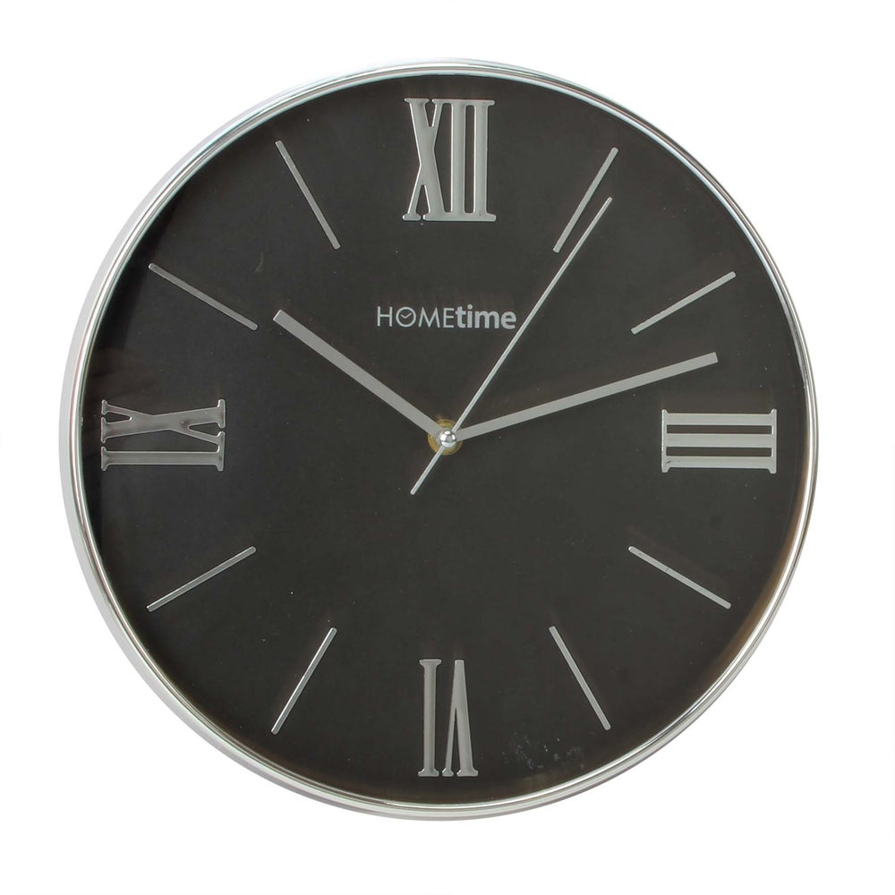 Image of Chrome Silver Wall Clock with Black Face 30cm