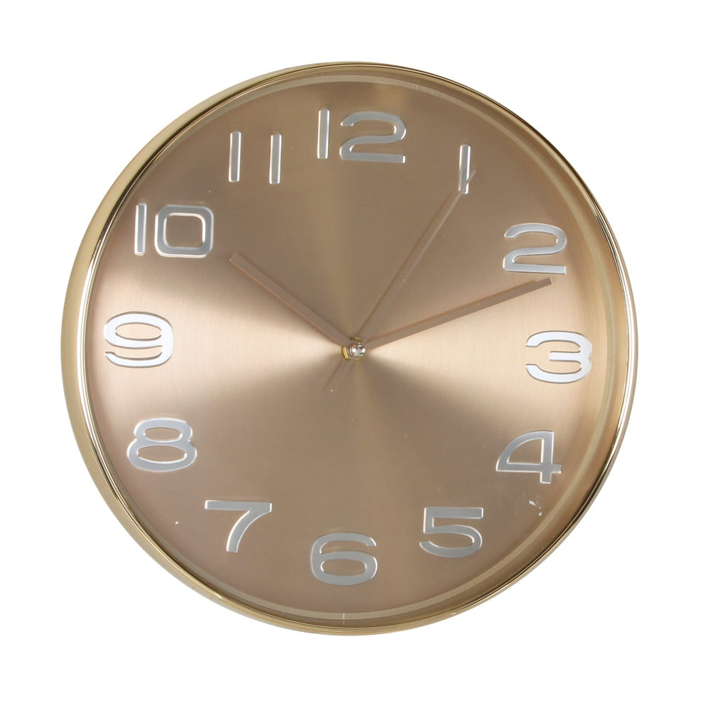 Image of Gold Brass Wall Clock with Shimmer Face 30cm