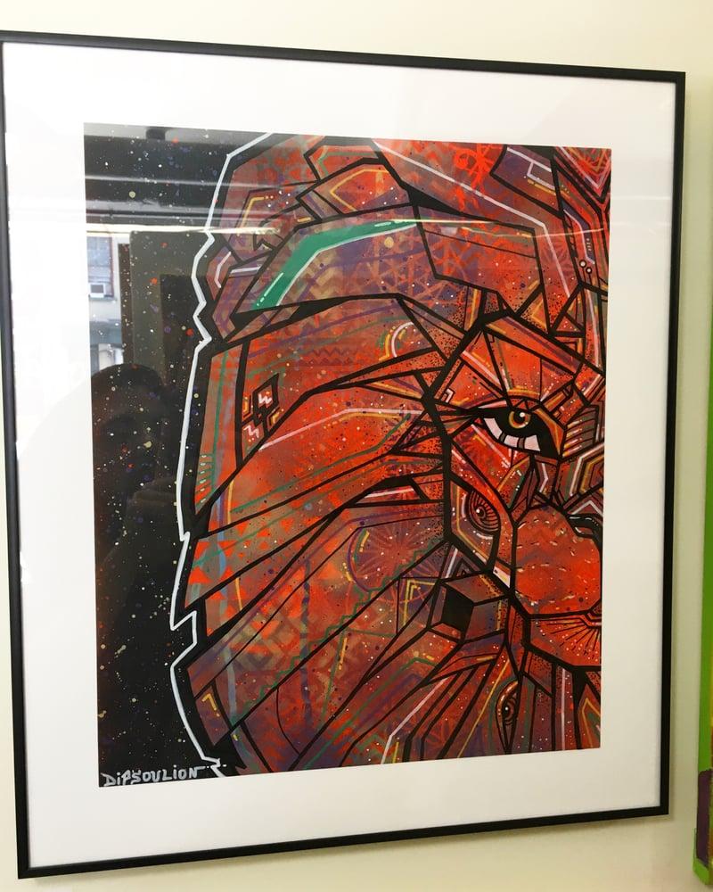 Image of Sacred Lion version (framed and matted)
