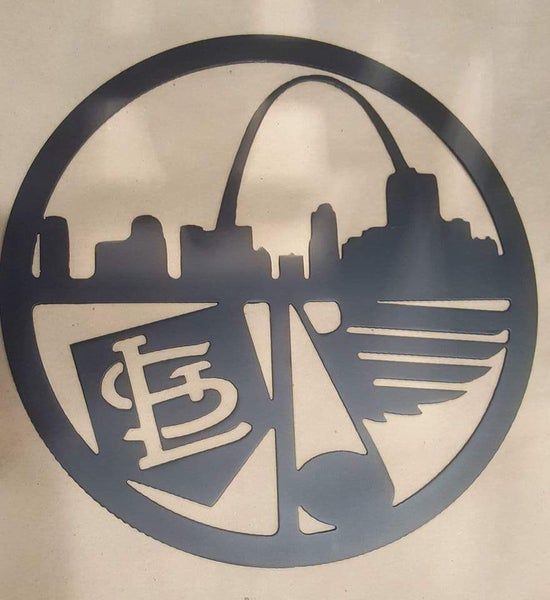 Image of St Louis Skyline St Louis Cardinals and St Louis Blues Sign Great Gift Idea for Bar or Sports Fan