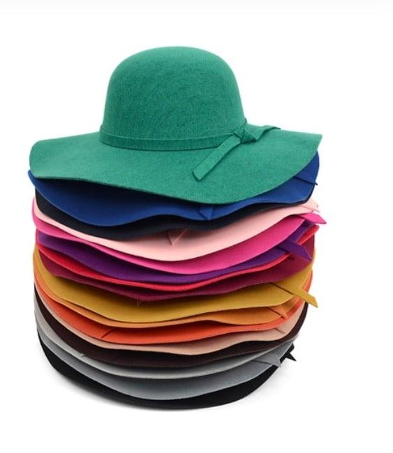 Image of Women's Poly Felt Wide Brim Floppy Hat