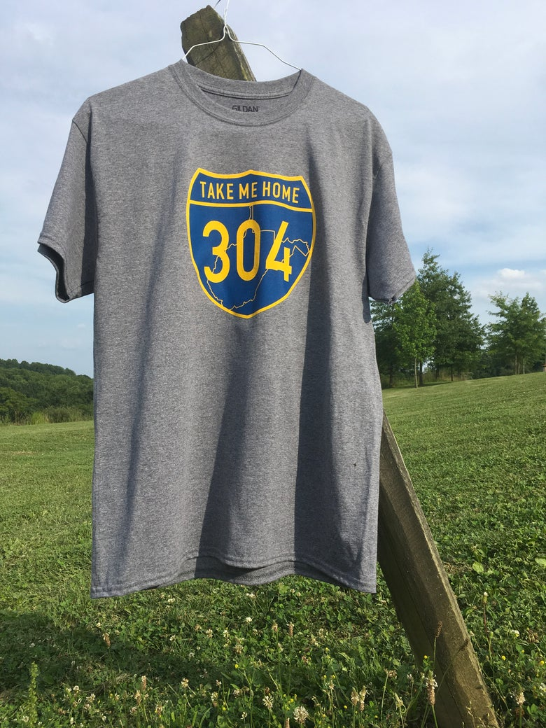 Image of Take Me Home 304 Graphite Heather with Blue/Gold Logo T-Shirt