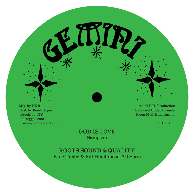 "Image of Sampson / King Tubby - God is Love / Drums of Love / Raw Horn of the Congo 12"" (Gemini)"