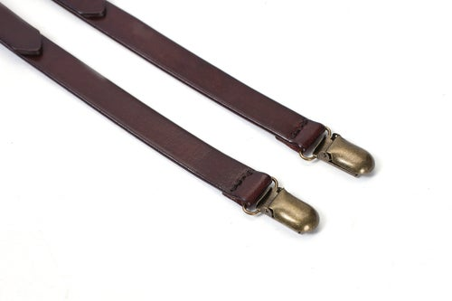 Image of Genuine Leather Suspenders / Groomsman Wedding Suspenders in Coffee 0191
