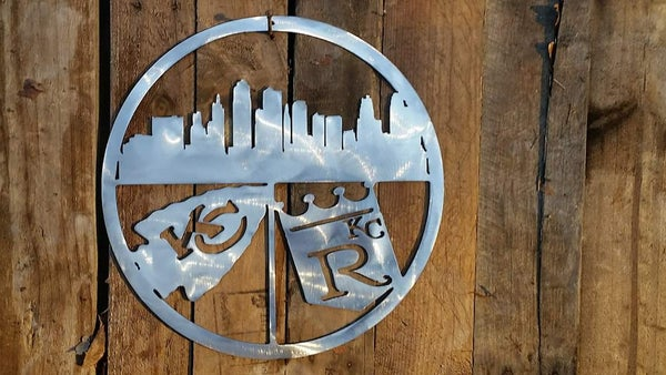 Image of Kansas City Skyline Royals and Cheifs Sign Great Gift Idea for Bar or Sports Fan