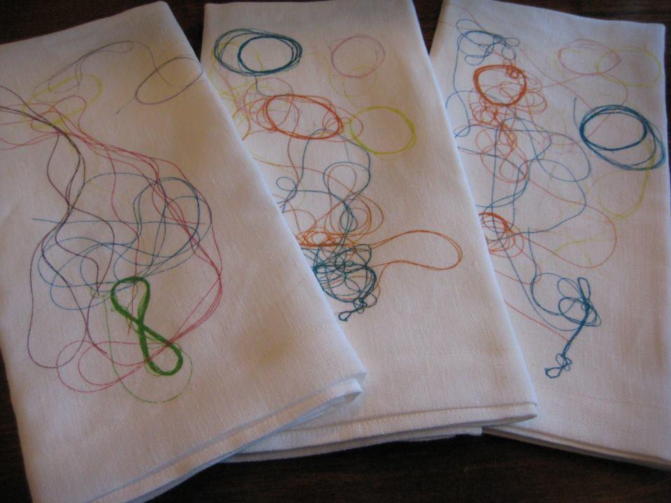 Image of Multi-Color Thread Composition Tea Towel