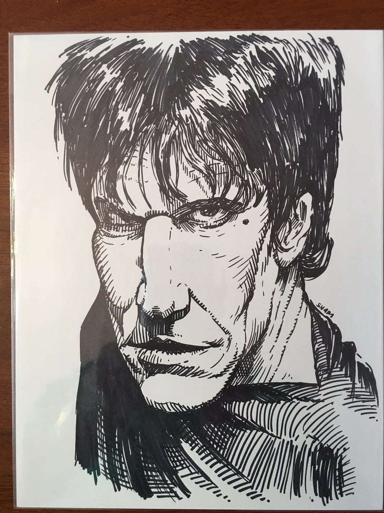 "Image of Lux Interior The Cramps Punk Legend Original 8.5""X11"" Sharpie Sketch"
