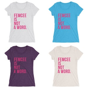 Image of Ladies Femcee Is Not A Word Tee - Pink Text (More Colors)