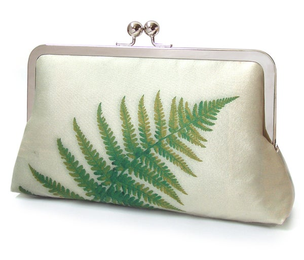 Image of Green fern clutch bag