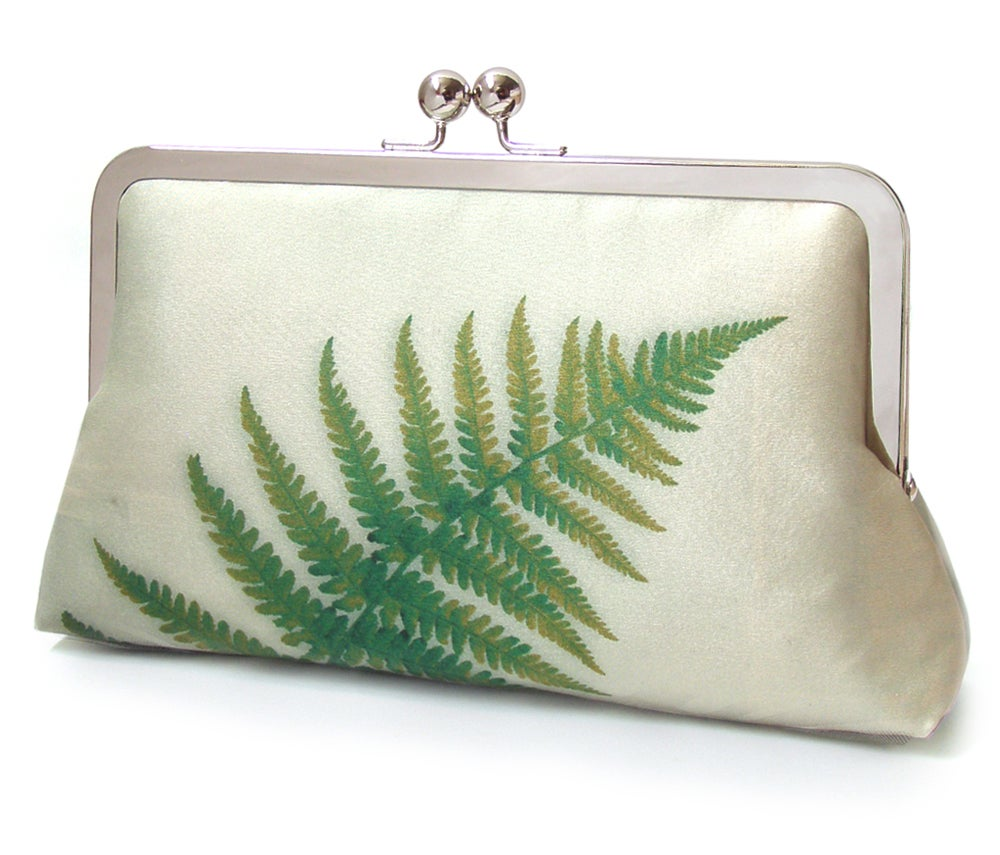 Image of Green Ferns - a Red Ruby Rose original silk clutch purse