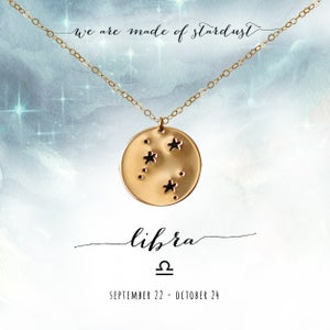 Image of Libra Constellation Necklace- 14kt Yellow Gold Fill