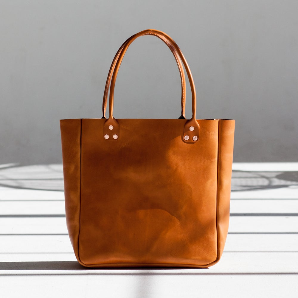 Image of Tan Italian Leather Carryall Tote