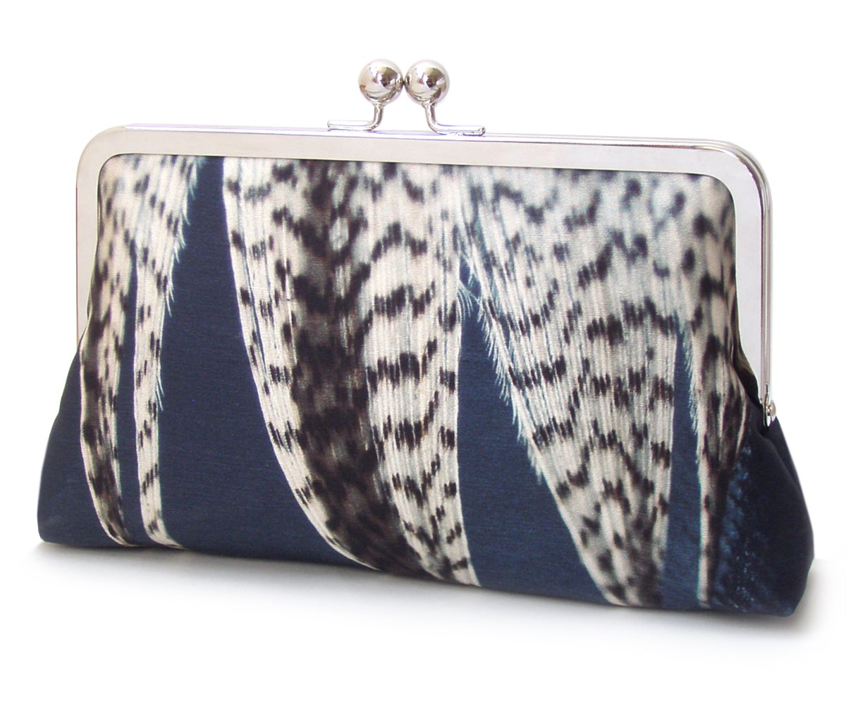 Image of Feather stripe clutch bag, silk purse, blue white