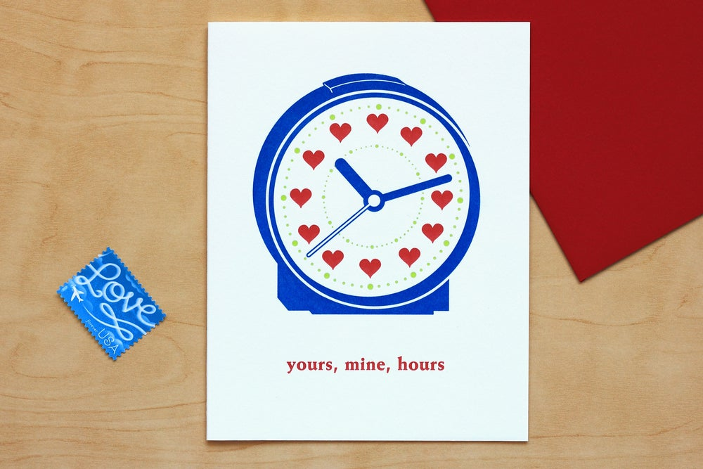 Image of CLOCK WITH HEARTS Card
