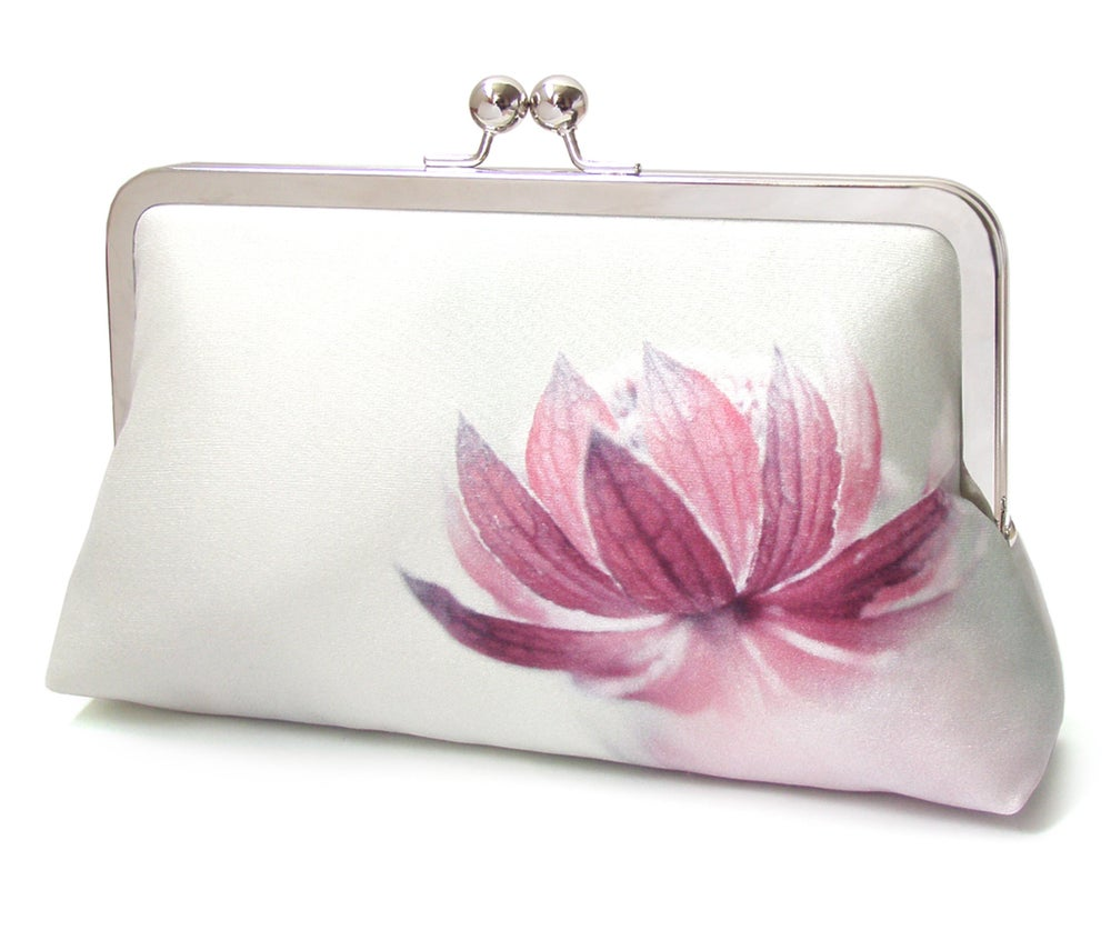Image of Pink flower clutch purse, printed silk purse, astrantia lily lotus blossom