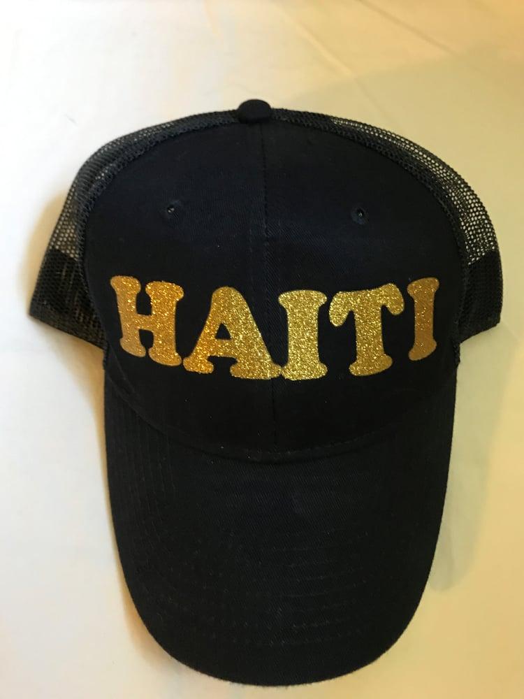 Image of Black Hat with Gold Haiti