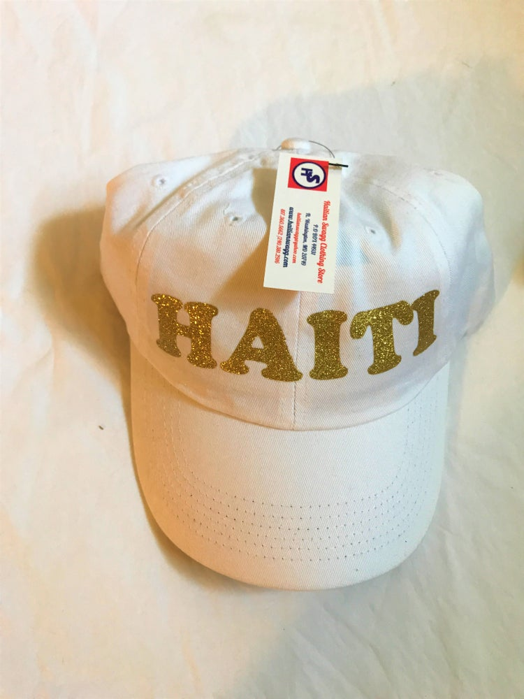 Image of White Hat with Gold Haiti