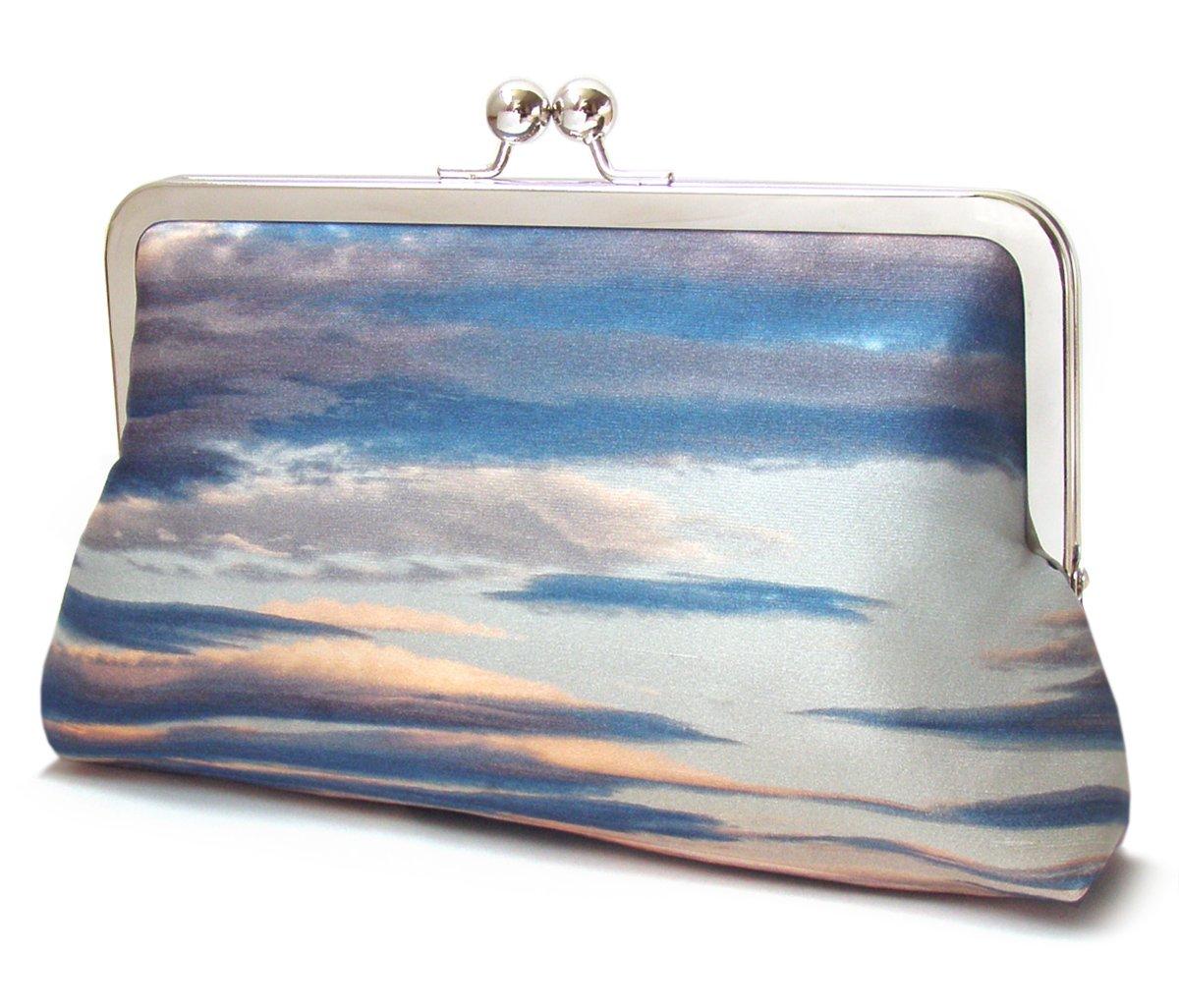 Image of Clouds clutch purse, silk sunset bag, blue stripe sky