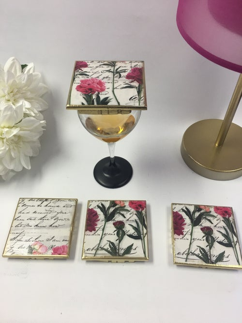 Image of Wine Glass Covers - Scripted Flowers