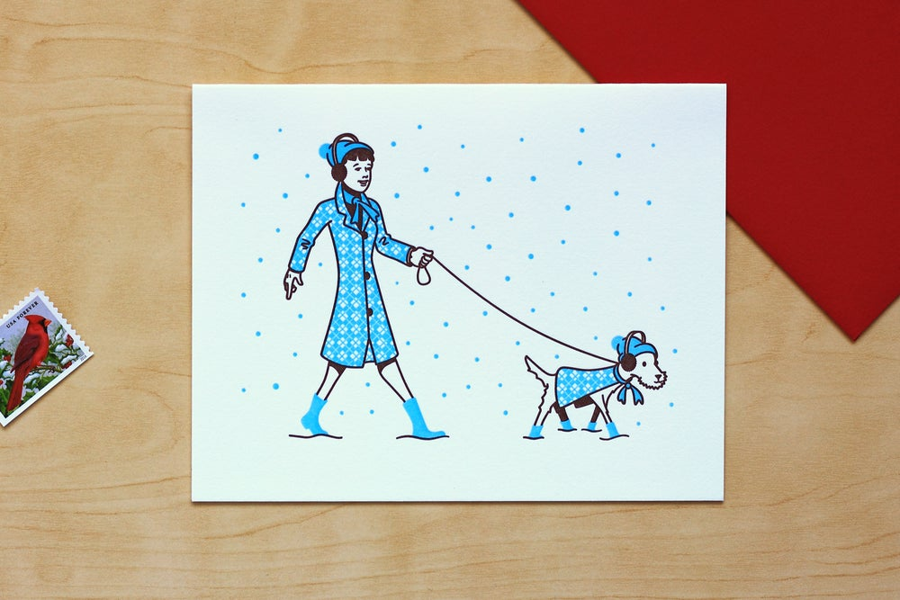 Image of WALKING THE DOG IN WINTER SNOW Card
