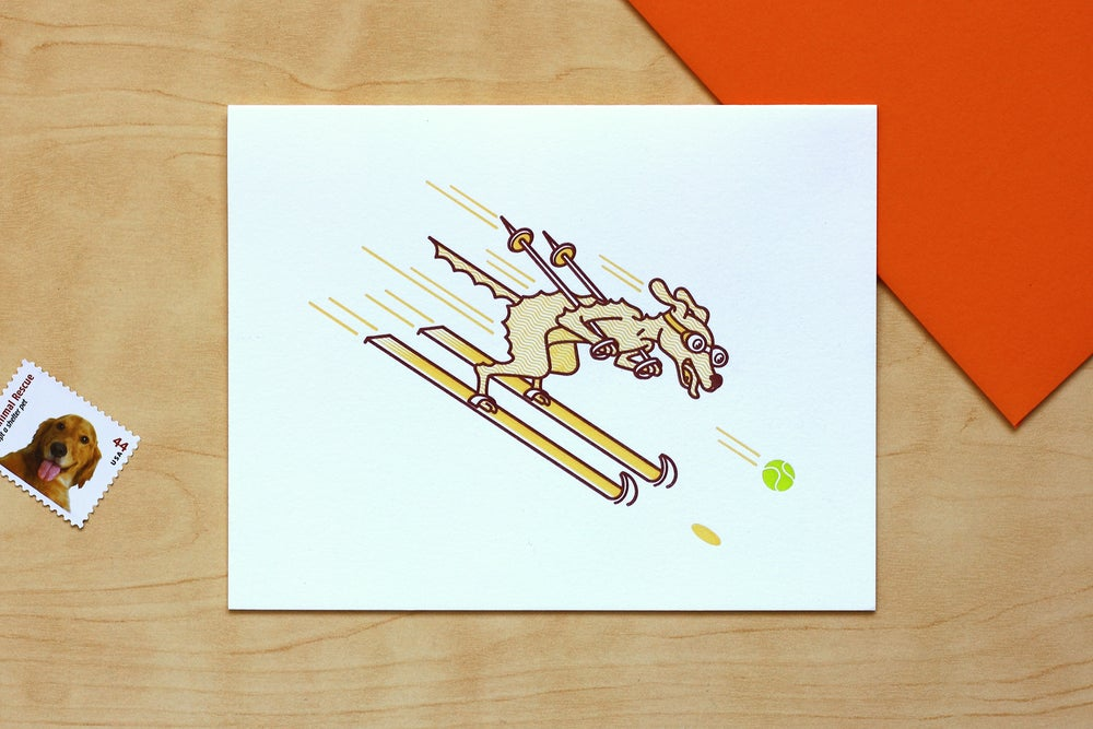 Image of DOWNHILL RACER DOG Card