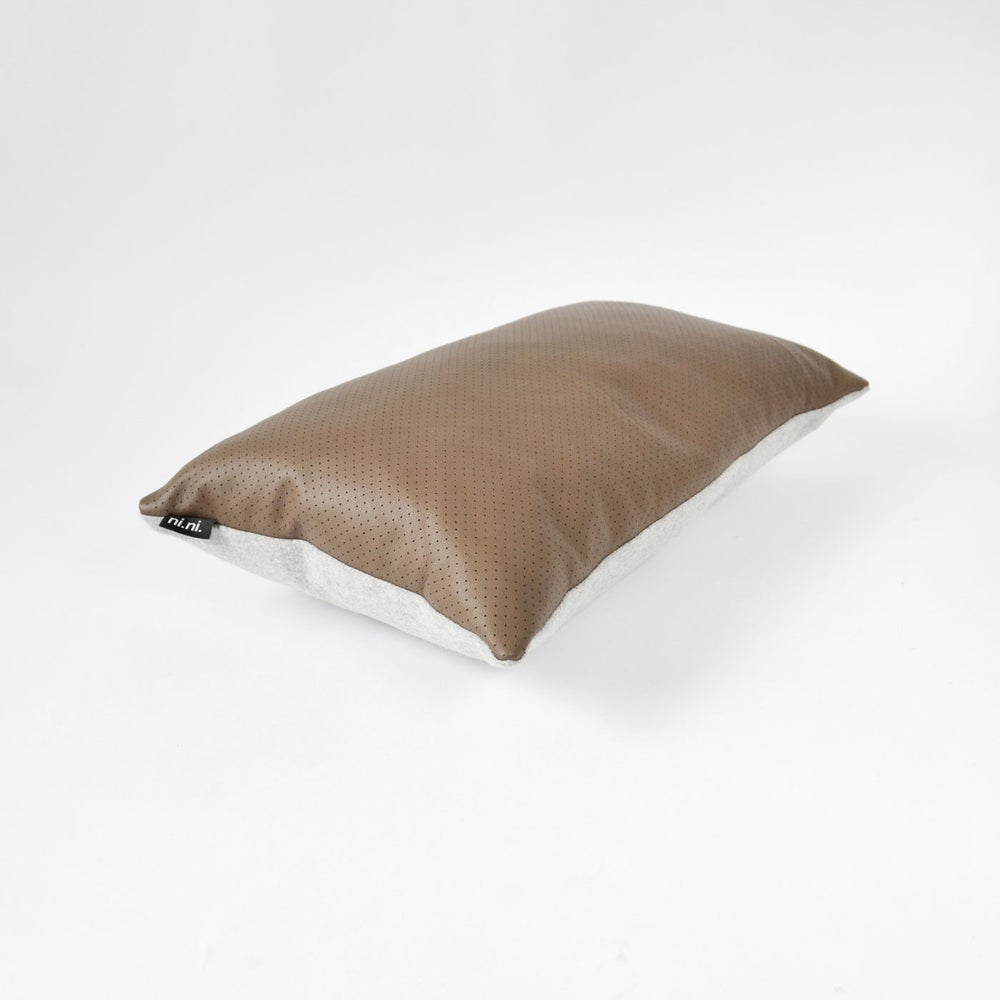 Image of Leather Chocolate Dotty Cushion Cover - (2 sizes available)
