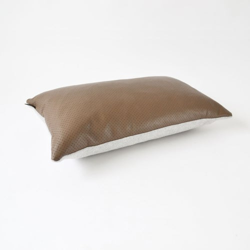 Image of Leather Chocolate Dotty Cushion Cover - Lumbar