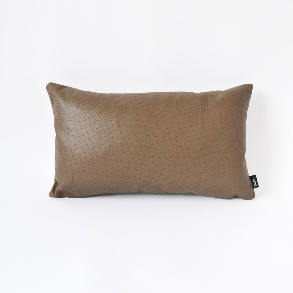 Image of Leather Chocolate Dotty Cushion Cover - (3 sizes available)