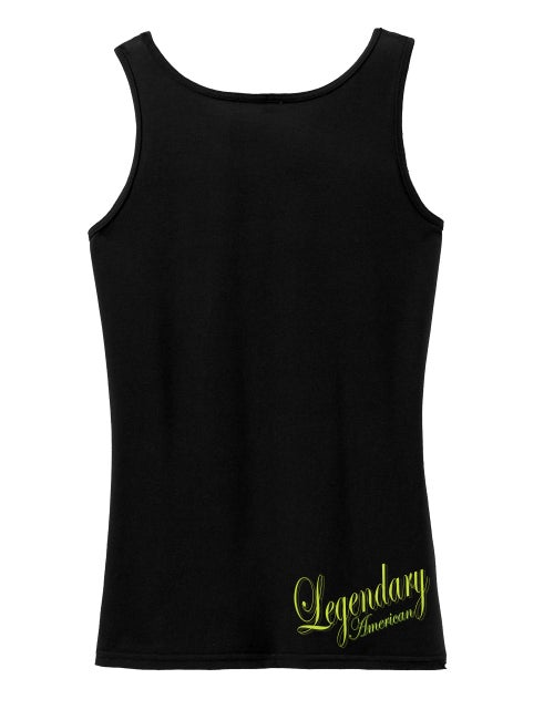Image of Legendary American Womens Taditional tank top - gold print