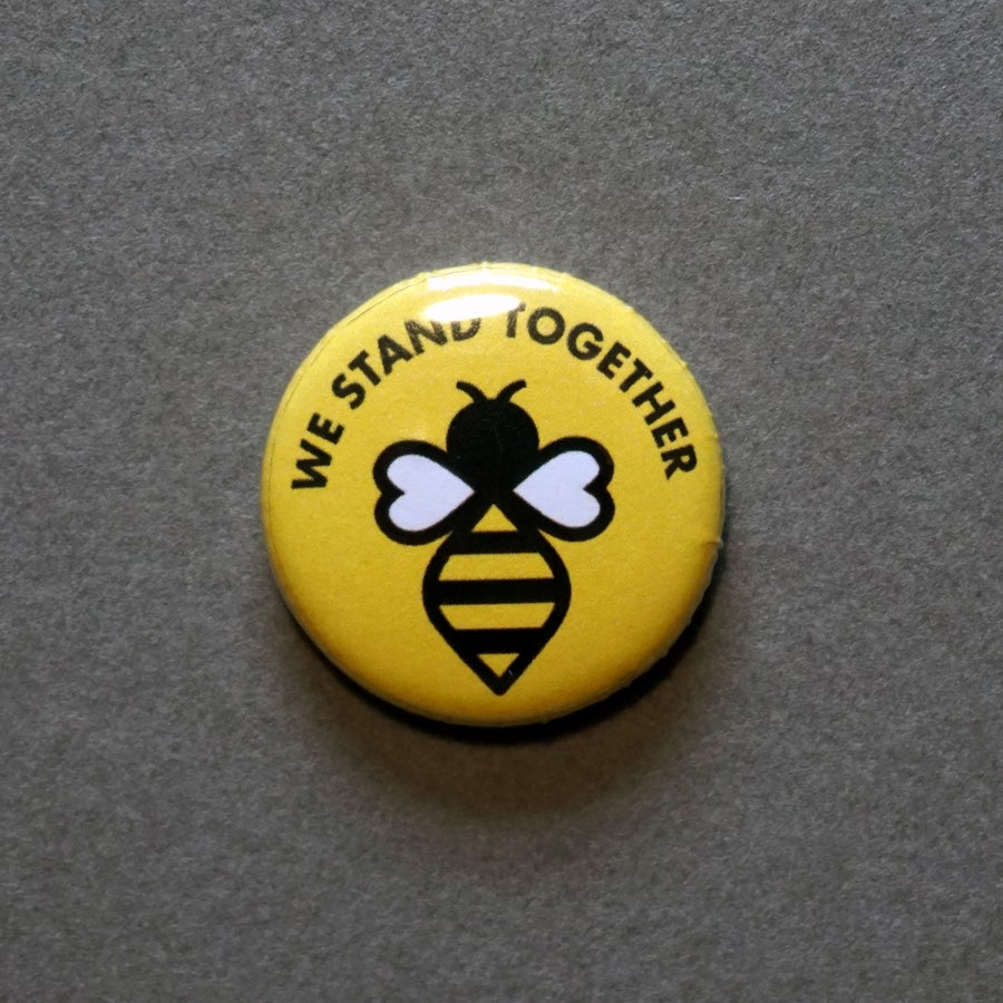 Image of Preorder Manchester #WeStandTogether Bee Button Badge