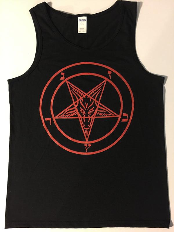 Image of Pentagram - Tank Top with Red printed Pentagram