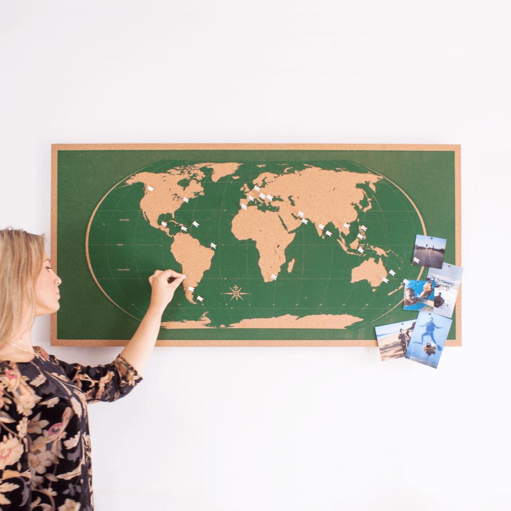 Image of Skinny Green World Map