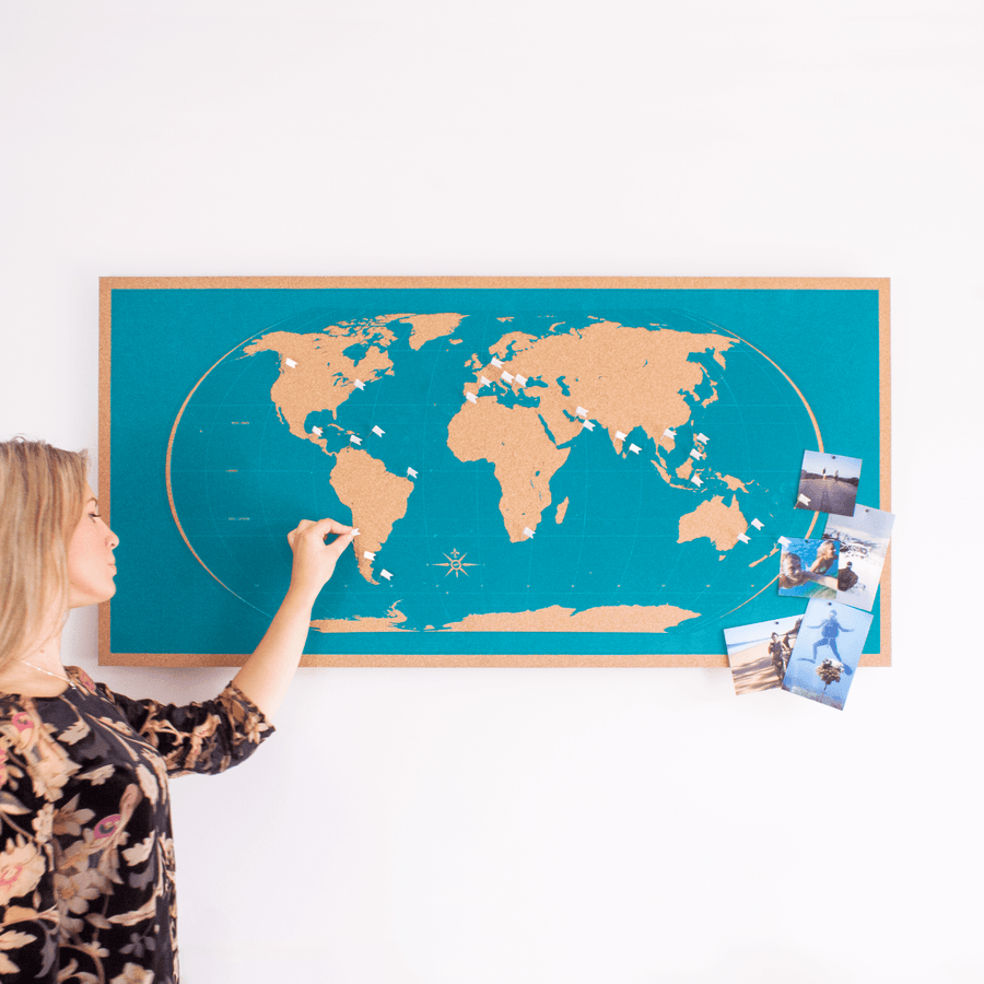 Image of Frameless Blue World Map