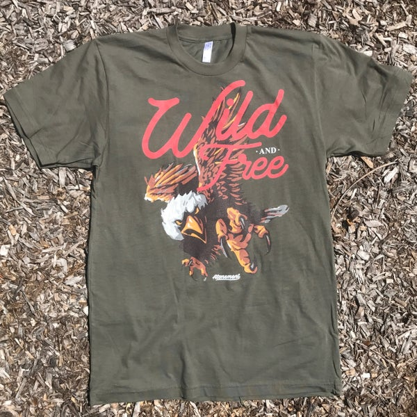 "Image of The ""Wild-and-Free"" Eagle Tee in Army Green"